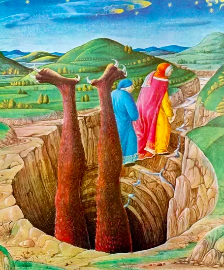 Dante and Virgil escape from Hell, from a 15th century manuscript of the Inferno