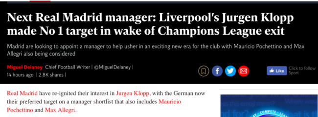 Klopp liverpool madrid