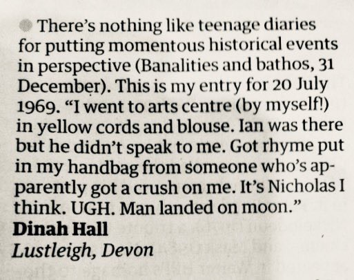 diary entry moon teenagers 1969