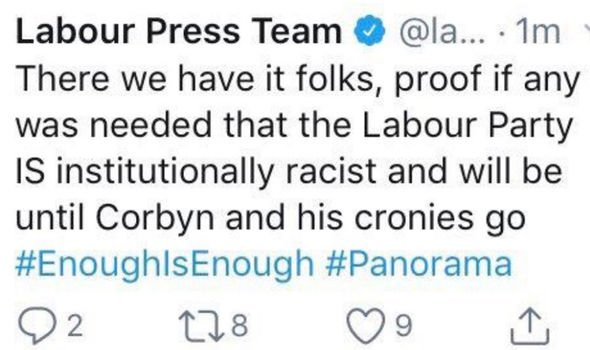 There we have it folks, proof if any was needed that the Labour Party IS institutionally racist and will be until Corbyn and his cronies go #EnoughIsEnough