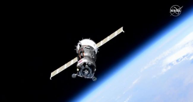The Russian Soyuz MS-14 spacecraft carrying the humanoid robot Skybot F-850 is seen during final approach to the International Space Station on Aug. 24, 2019. The Soyuz's docking was aborted due to a problem with its Kurs rendezvous system.