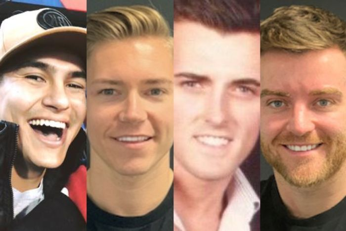 Left to right: Alex Roberts, Lee Cuthbert, Luke and Paul O'Shaughnessy chased down a man who went on a stabbing rampage in Sydney CBD. (Supplied: Facebook) RELATED STORY: Woman dead, another stabbed in back as passers-by halt Sydney CBD rampage