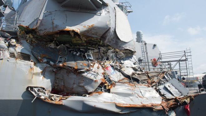 The USS Fitzgerald collided with a Filipino-flagged container ship in Tokyo Bay