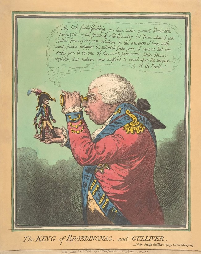 The King of Brobdingnag and Gulliver by James Gillray (1803), (satirising Napoleon Bonaparte and George III). Metropolitan Museum of Art