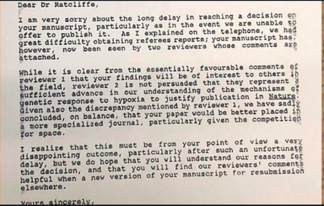 Sir Peter J. Ratcliffe won the 2019 Nobel Prize in Physiology or Medicine. Here's the 1992 rejection letter from Nature, for the paper he submitted on his prize-winning work.