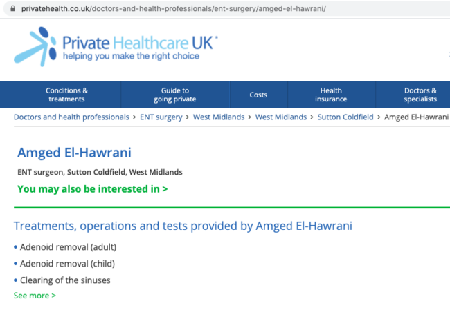 Amged El-Hawrani private NHS