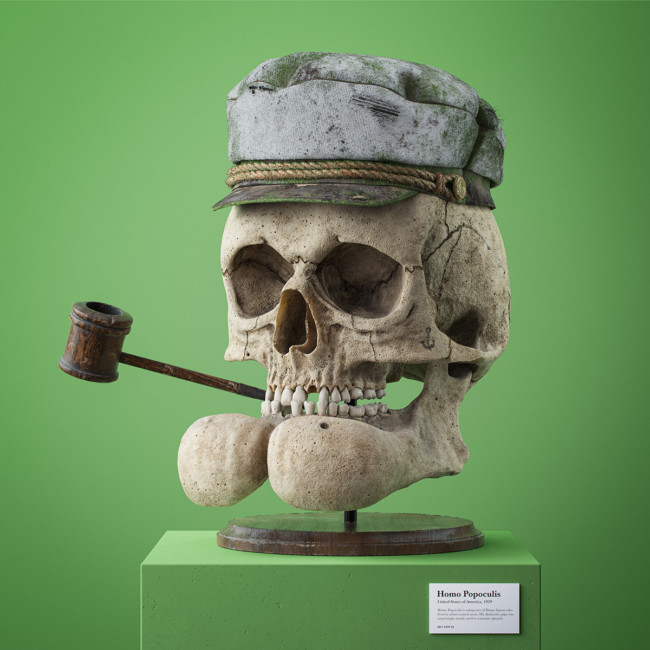3D artist Filip Hoda makes fossilised skulls of famous cartoon characters