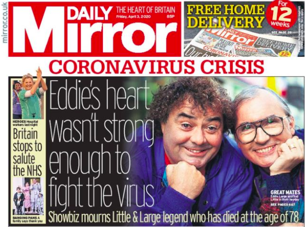 Eddie Large coronavirus tabloids