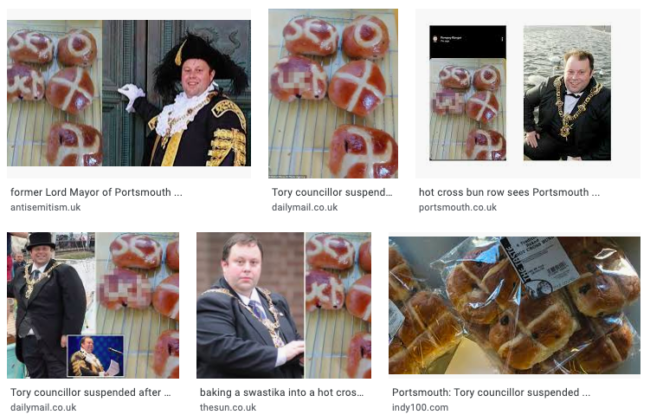 Tory councillor Portsmouth hot cross buns swastika