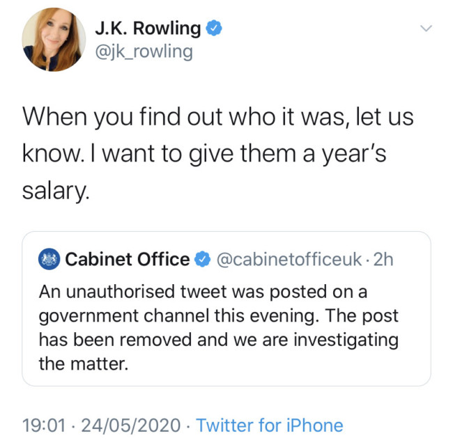 JK Rowling civil service tweet