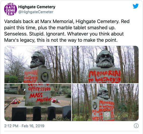 Marx statue vandalised