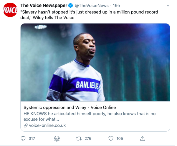 Wiley antisemitism the voice