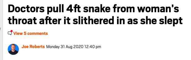 snake woman throat sleeping russia