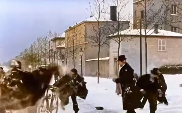 Snowball Fight (1896) - Louis Lumière Colorised