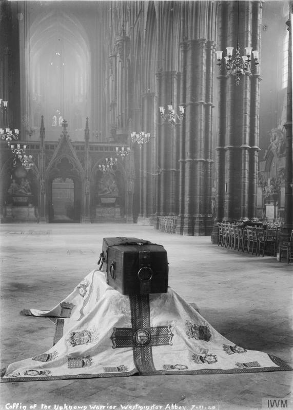 The coffin of the Unknown Warrior in state in the Abbey in 1920, before burial.