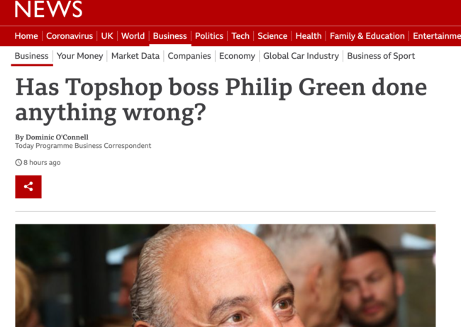 Philip Green BBC Arcadia