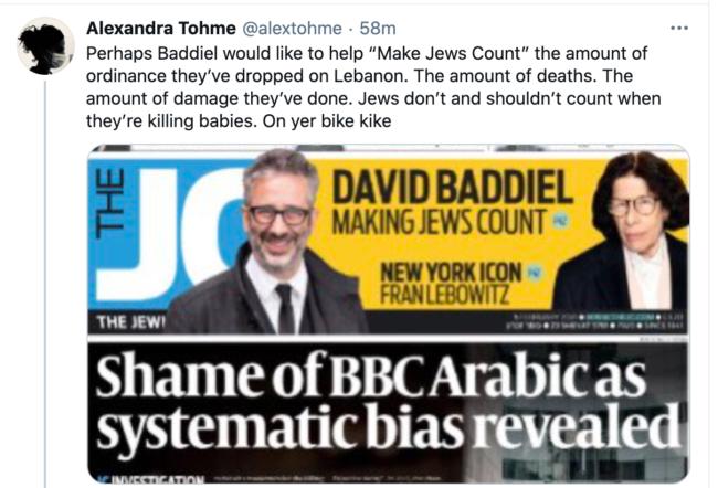 Baddiel Jews twitter Alexandra Tohme