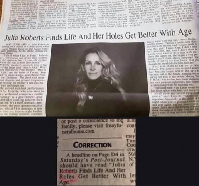 'Julia Roberts finds her holes get better with age' – newspaper regrets the typo