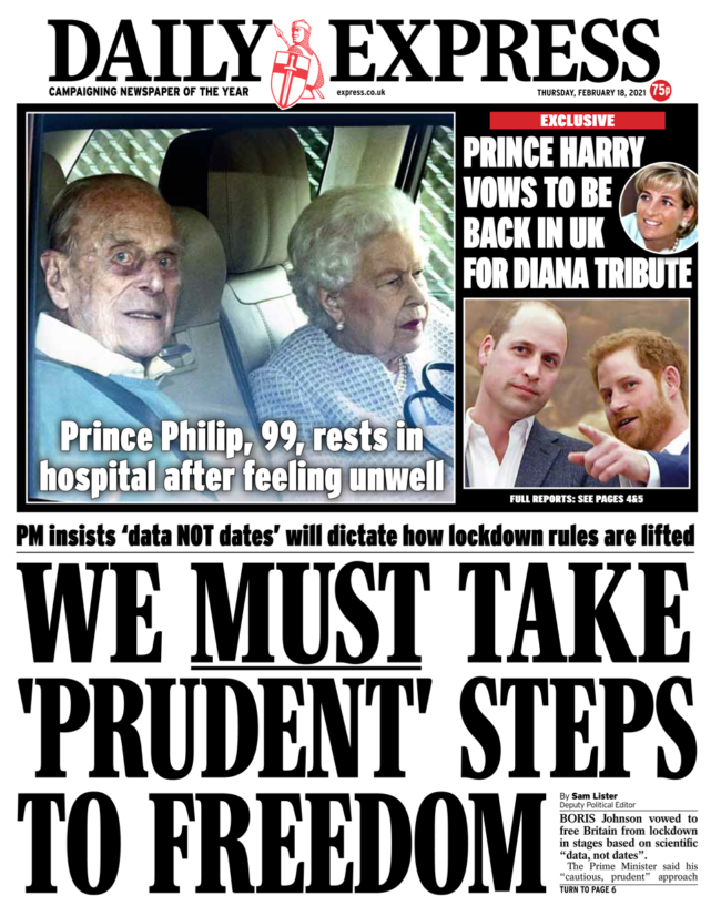 Daily Express leads with terrible Prince Philip photo; Diana might be dead