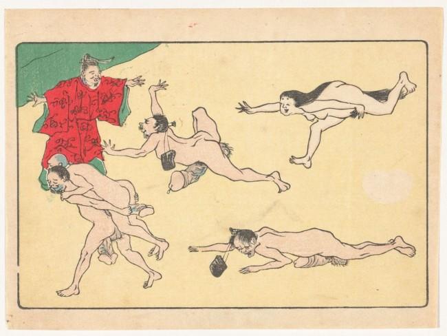 Prints of Kawanabe Kyōsai's erotic Japanese scrolls